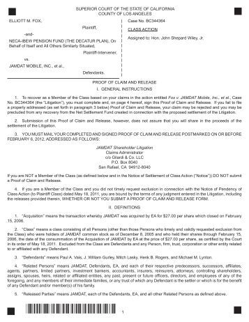 Of Claim And Release Form  Gilardi  Co Llc