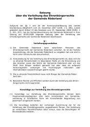 Satzung über die Verleihung des Ehrenbürgerrechts der Gemeinde ...