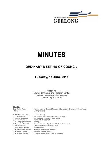 Council Meeting 14-06-11 Minutes - City of Greater Geelong
