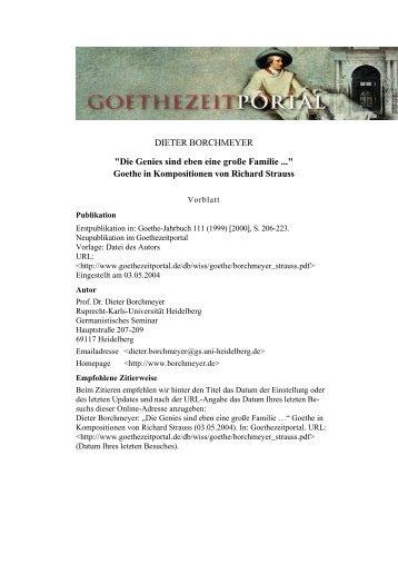 Goethe in Kompositionen von Richard Strauss - Das Goethezeitportal
