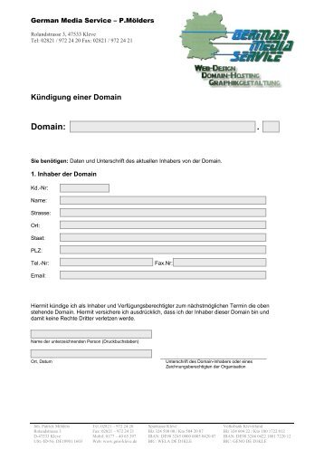 Domain kündigen - GMS-KLEVE
