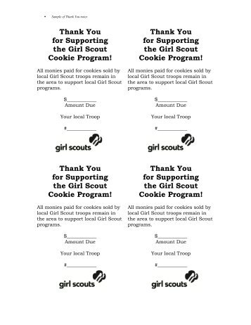 Sample of Thank You notes - Girl Scouts Heart Of Central California