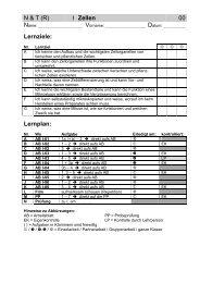 N & T (R) I Zellen 00 Lernziele: Lernplan: - Gegenschatz.net