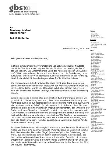 Offener Brief an Bundespräsident Köhler zur weltanschaulichen ...