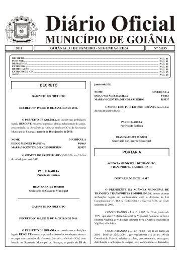 Diário Oficial MUNICÍPIO DE GOIÂNIA - Prefeitura de Goiânia