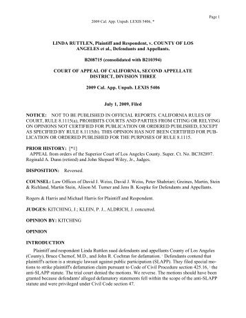 Ruttlen v. County of Los Angeles Opinion - Greines, Martin, Stein ...