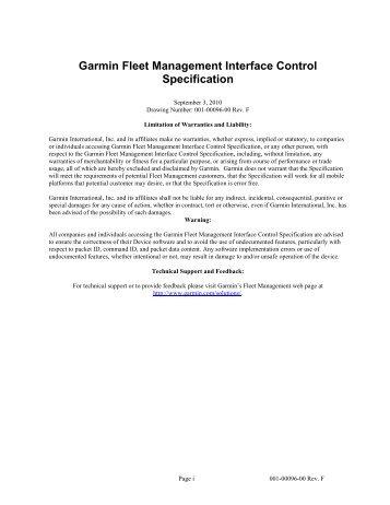 Garmin Fleet Management Interface Control Specification - GetACoder