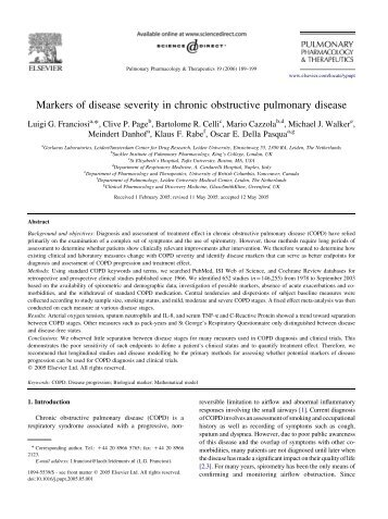 Markers of disease severity in chronic obstructive pulmonary disease