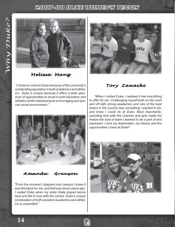 Why Duke? - Duke University Athletics