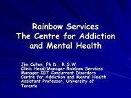 Rainbow Services The Centre for Addiction and Mental Health - GMSH