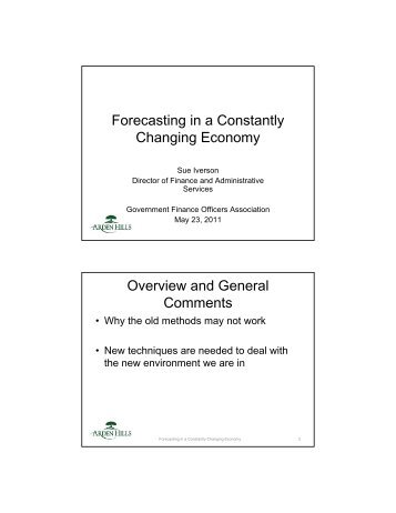 Forecasting in a Constantly Changing Economy Overview and ...
