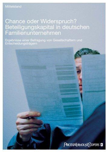 Chance oder Widerspruch? Beteiligungskapital in deutschen ...