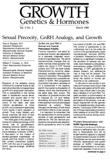 sexual precocity, gnrh analogs, and growth - GGH Journal