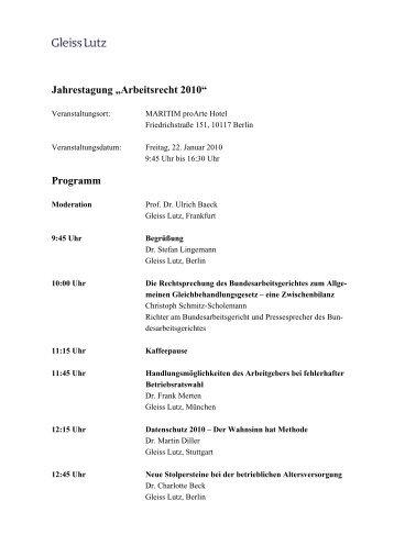 """Jahrestagung """"Arbeitsrecht 2010"""" Programm - Gleiss Lutz"""