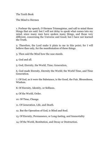 hermes trismegistus, book 10 - Holy Order of the Golden Dawn ...