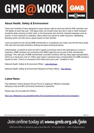 About Health, Safety & Environmentx - GMB