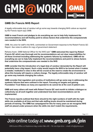 GMB On Francis NHS Reportx
