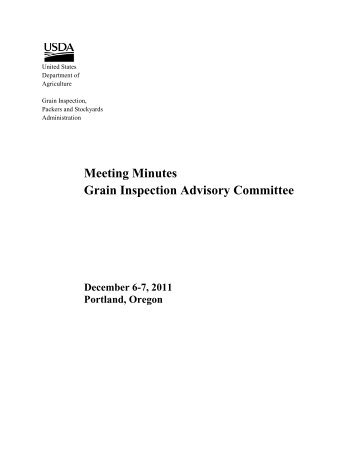 Meeting Minutes Grain Inspection Advisory Committee