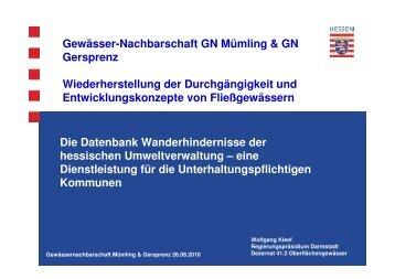 Die Datenbank Wanderhindernisse der hessischen ...