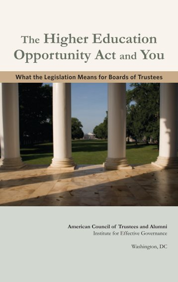 The Higher Education Opportunity Act and You - The American ...