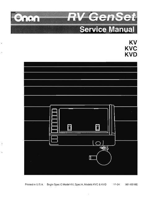ONAN KV KVC And KVD Service Manual