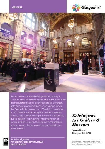 Kelvingrove Venue Hire Leaflet Download - Glasgow Life
