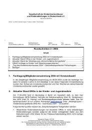 Rundschreiben 2 / 2004 1. Fachtagung ... - GKinD