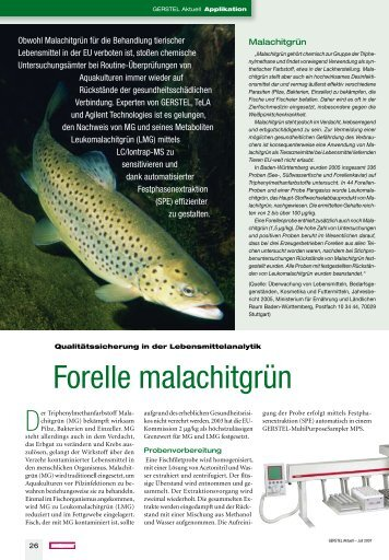 GERSTEL Aktuell 36 Forelle malachitgrün - Gerstel GmbH & Co.KG