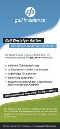 Golf Einsteiger Aktion - Golf-Club Heilbronn-Hohenlohe eV