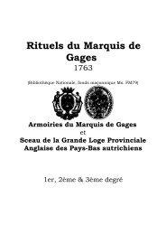 Rituels du Marquis de Gages - Grand Lodge Bet-El