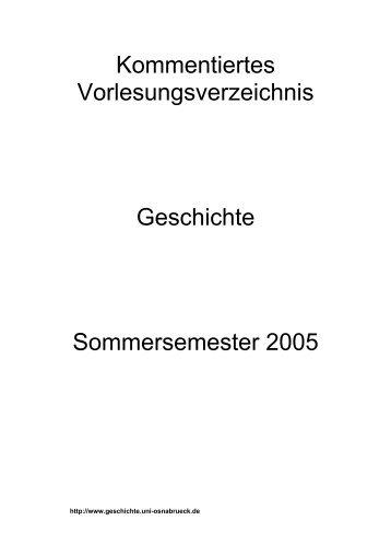 Kommentiertes Vorlesungsverzeichnis Sommersemester 2005 ...