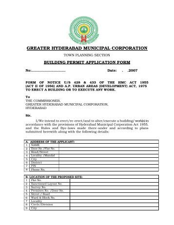 Building Permit Application Form - Greater Hyderabad Municipal ...