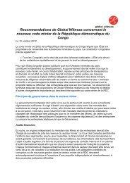 Recommandations de Global Witness concernant le nouveau code ...