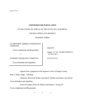 Clarendon America Ins. Co. v. Starnet Ins. Co. Opinion