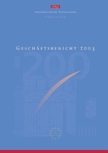 Geschäftsbericht 2003 der Oesterreichischen Nationalbank