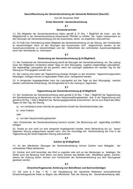 Geschäftsordnung der Gemeindevertretung - Gemeinde Röderland