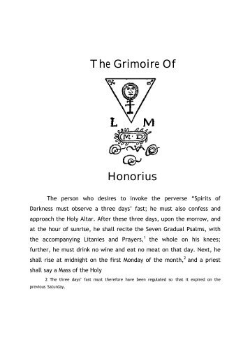 The Grimoire of Honorius - Holy Order of the Golden Dawn Canada
