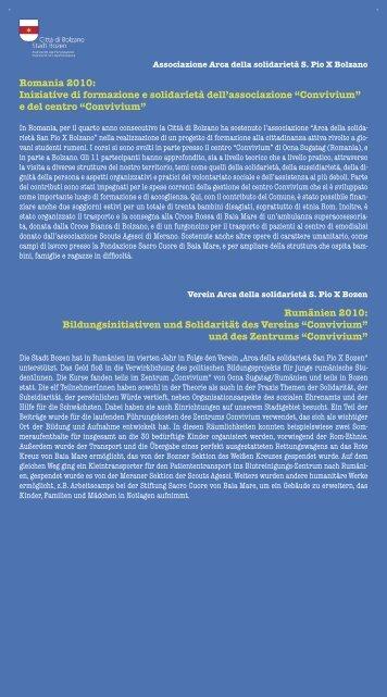 Associazione Arca della solidarietà S. Pio X Bolzano In Romania ...