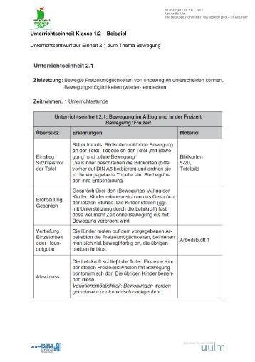 Unterrichtseinheit Klasse 1/2 – Beispiel Unterrichtsentwurf zur ...