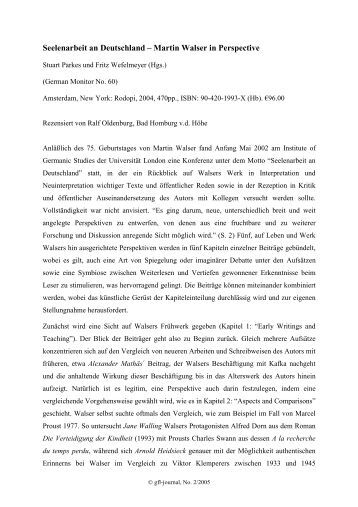 Seelenarbeit an Deutschland – Martin Walser in ... - GFL-Journal