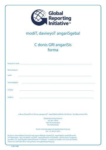modiT, daviwyoT angariSgeba! - Global Reporting Initiative