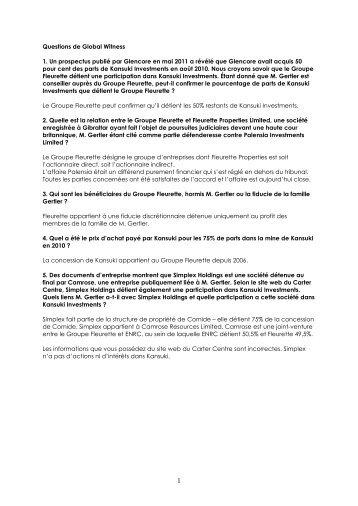 Questions de Global Witness 1. Un prospectus publié par Glencore ...