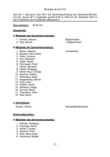 Protokoll der Gemeindevertretersitzung vom 25.01.2011