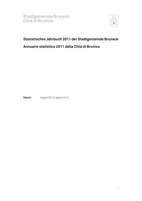 Annuario statistico 2011 - Città di Brunico