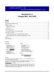 Newsletter Nr. 2 Ausgabe März / April 2006 - GfWM - Gesellschaft für ...
