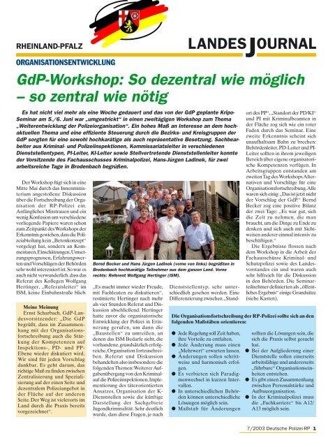 Journal Juli 2003 - gdp-deutschepolizei.de