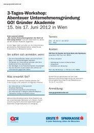 3-Tages-Workshop: Abenteuer Unternehmensgründung GO ...
