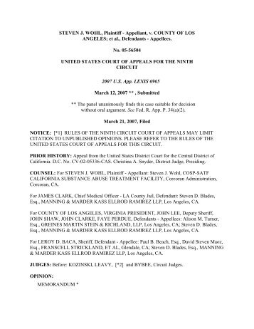 Wohl v. County of Los Angeles Opinion - Greines, Martin, Stein ...