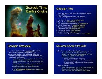 Geologic Time, Earth's Origins