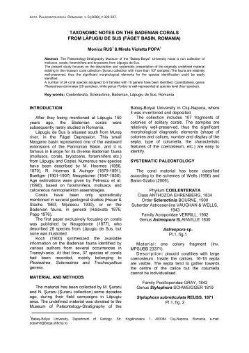 taxonomic notes on the badenian corals from lăpugiu de sus